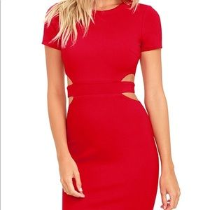 Feeling the heat red cutout dress lulus NWT M